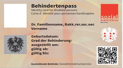 Behindertenpass Vorderseite, © Bundesamt für Soziales und Behindertenwesen - Sozialministeriumservice
