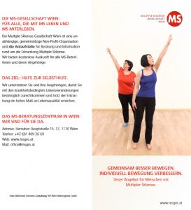 """Flyer: """"Gemeinsam besser bewegen"""" Unser Bewegungsangebot für Menschen mit MS"""
