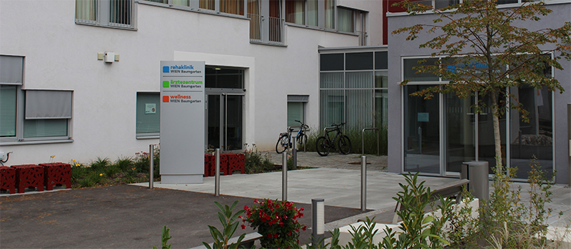 Eingangsbereich Neurologisches Rehabilitationszentrum Baumgarten, Foto: Kerstin Huber-Eibl