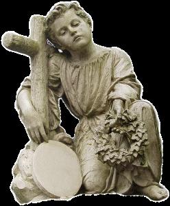 Symbolbild Trauer: Steinengel mit Kreuz und Kranz, Foto: Holger Grybsch, Pixabay