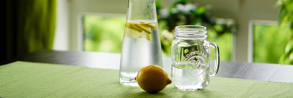 Wasserkrug und Wasserglas mit Zitrone, Foto: Kira Hoffmann