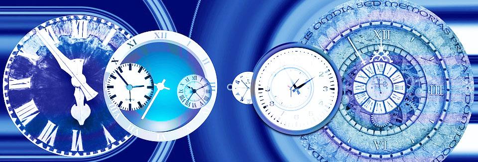 Symboldbild Stress: Uhren auf blauem Hintergrund, Credit: Gerd Altmann , Pixabay