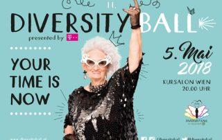 Sujet Diversity Ball 2018: Ältere Dame im Rockeroutfit und Eckdaten der Veranstaltung