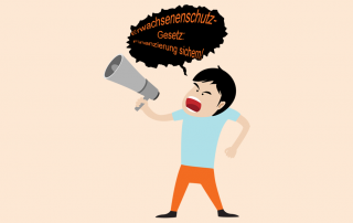 """Grafik: Mann ruft ins Megafon: """"Erwachsenenschutzgesetz: Finanzierung sichern!"""""""