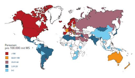 """Abbildung: """"MS-Atlas"""" 2013, Krankheitshäufigkeit weltweit"""