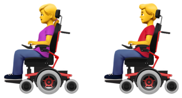 Accessible Emoji: Personen im Elektrorollstuhl, Credit: Apple