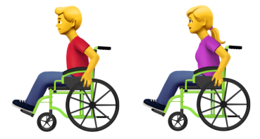 Accessible Emoji: Personen im Rollstuhl, Credit: Apple