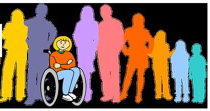 Symbolbild Inklusion: Rollifahrerin vor stehenden Menschen, Credit: Gerd Altmann , Pixabay