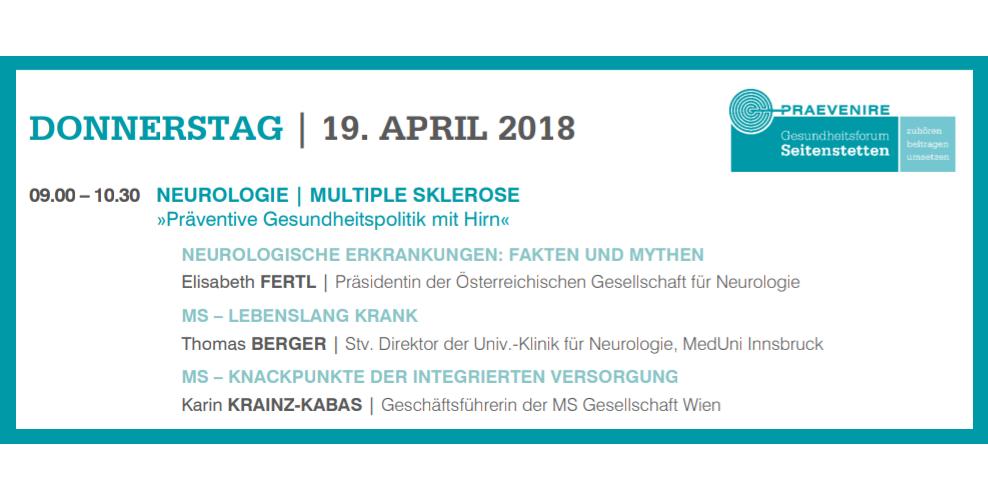 Beim PRAEVENIRE Gesundheitsforum referierten Elisabeth Fertl, Thomas Berger und Karin Krainz-Kabas über verschiedene Aspekte der Multiplen Sklerose.