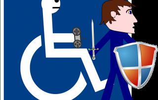 Rollstuhlfahrer steht auf und kämpft als Ritter, Credit: Clker-Free-Vector-Images