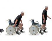 Gernot Morgenfurt auf vier Bildern nebeneinander: erst im Rollstuhl, dann aufstehend, dann stehend und am vierten Bild auf dem Einrad, Credit: G. Morgenfurt