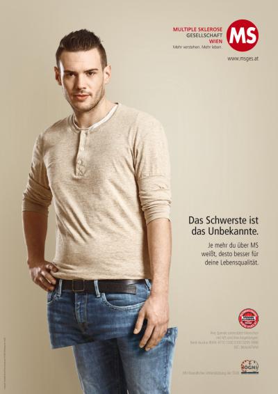 Plakatkampagne MS-Gesellschaft Wien: Das Schwerste ist das Unbekannte. Je mehr du über MS weißt, desto besser für deine Lebensqualität.