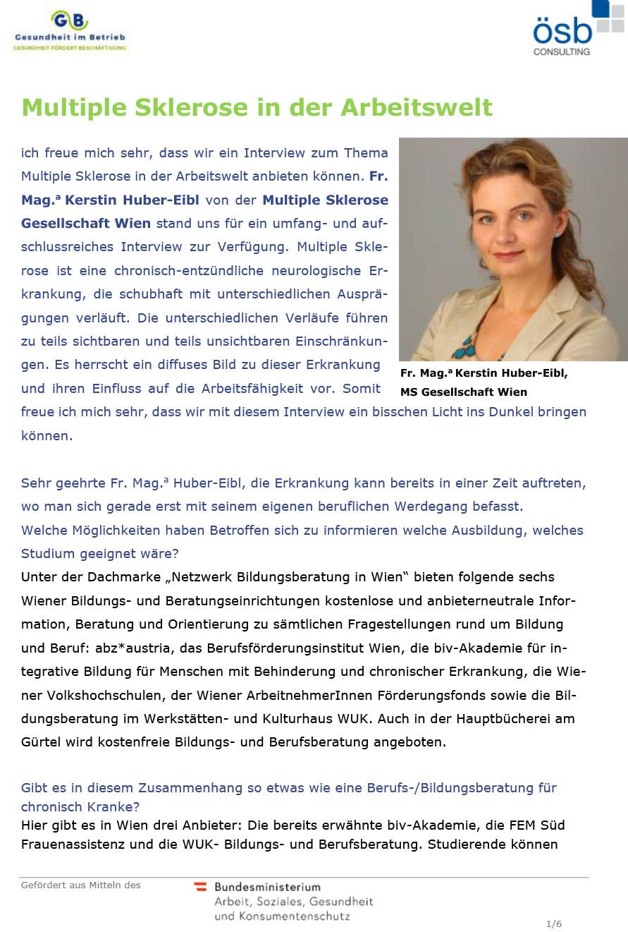 Multiple Sklerose in der Arbeitswelt: Interview mit Mag. Kerstin Huber-Eibl, MS-Gesellschaft Wien