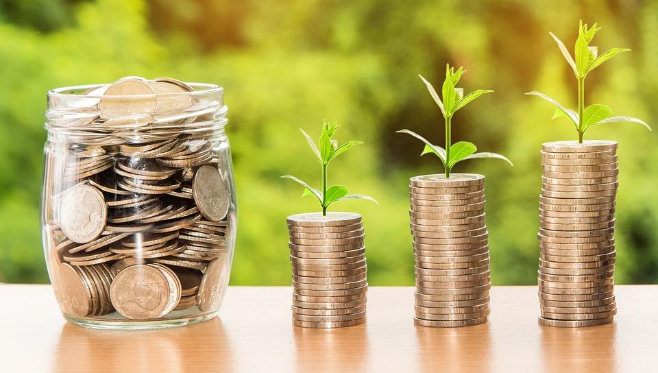Symbolbild Sparen: Aus Münzstapeln wächst Geld. Credit: Nattanan Kanchanaprat, Pixabay