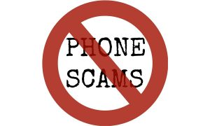 """Symbolbild Telefonbetrug, durchgestrichenes Schild mit Aufschrift """"phone scams"""", Credit: Paco Silva, Pixabay"""
