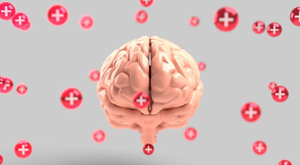 Symbolbild Therapie: Gehirn umringt von roten Kreuzen, Credit: QuinceMedia, Pixabay