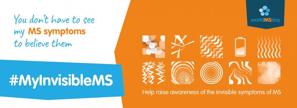 Logo Welt MS Tag 2019: Am Welt MS Tag, dem 29. Mai 2019, wird die Öffentlichkeit für die unsichtbaren Symptome und unsichtbaren Auswirkungen von Multipler Sklerose sensibilisiert. Das Motto lautet #MyInvisibleMS.
