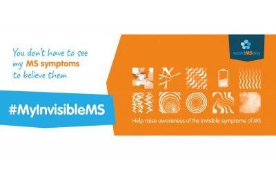 Logo Welt MS Tag 2019: Am Welt MS Tag, dem 30. Mai 2019, wird die Öffentlichkeit für die unsichtbaren Symptome und unsichtbaren Auswirkungen von Multipler Sklerose sensibilisiert. Das Motto lautet #MyInvisibleMS.