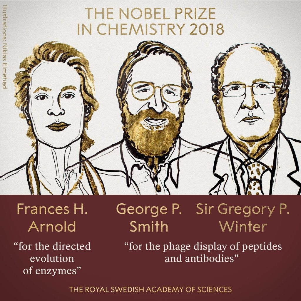 Chemie-Nobelpreisträger 2018: Frances H. Arnold, George P. Smith , Sir Gregory P. Winter