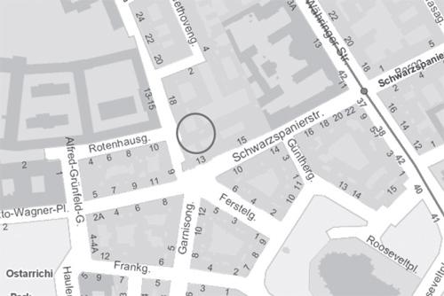 Lageplan Albert-Schweitzer-Haus, Schwarzspanierstraße 13, 1090 Wien