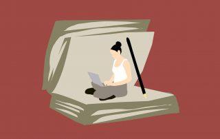 Illustration: Frau sitzt in einem aufgeklappten Buch und liest, Credit: Mohamed Hassan, Pixabay