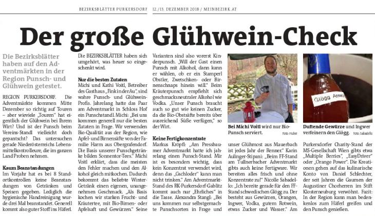 Die Bezirksblätter Purkersdorf berichten in ihrer Ausgabe vom 12./13. Dezember 2018 über den Punsch der MS-Gesellschaft Wien.