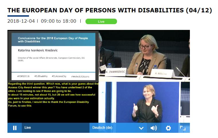 Live Streaming vom Europäischen Tag der Menschen mit Behinderungen