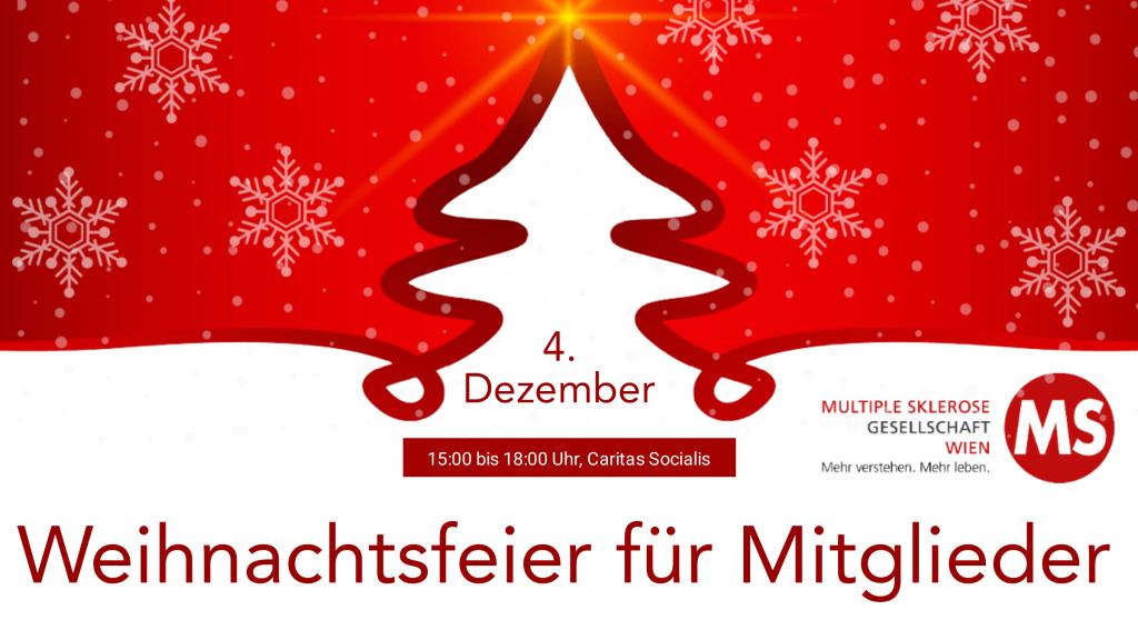 Weihnachtsfeier für Mitglieder der MS-Gesellschaft Wien am 4. Dezember 2019