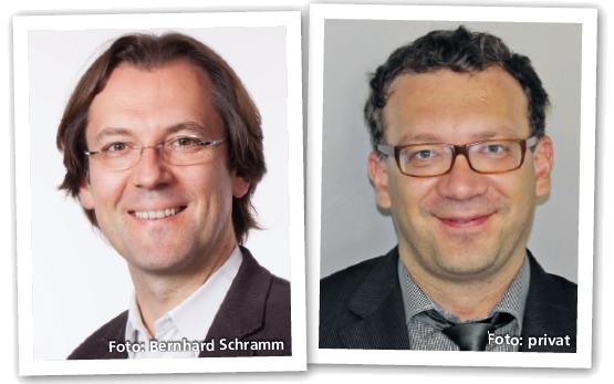 Univ.-Prof. Dr. Fritz Leutmezer und Ass.-Prof. Priv.-Doz. Mag. Dr. Paulus Rommer, Fotos: Bernhard Schramm, privat
