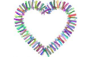Symboldbild Zusammenhalt: Bunte Hände bilden ein herz, Credit: Gordon Johnson, Pixabay