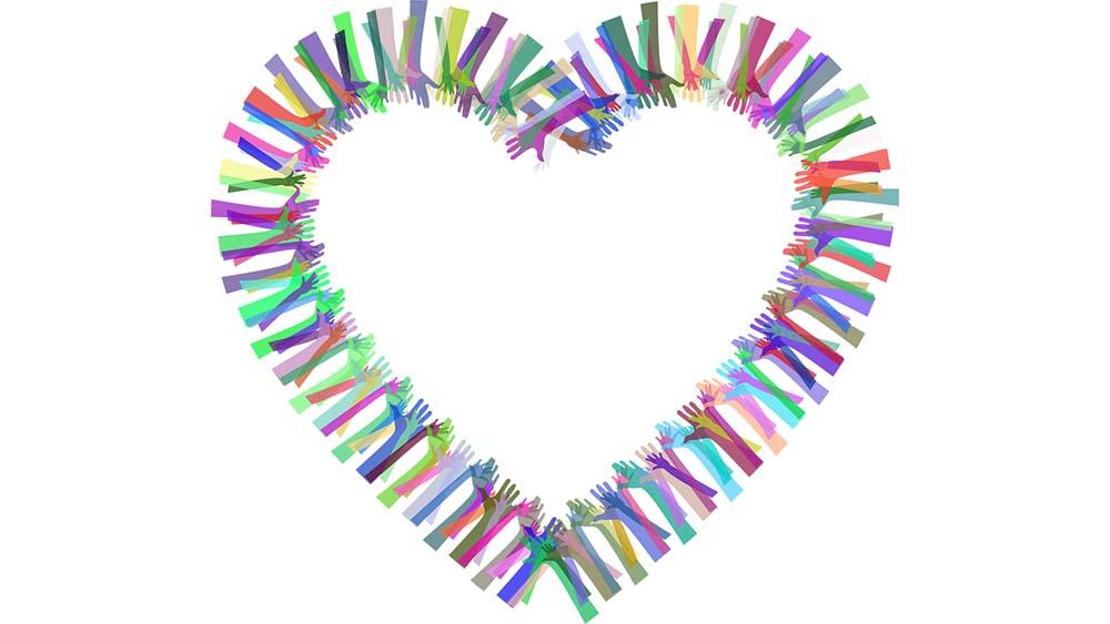 Symboldbild Mindestsicherung: Bunte Hände bilden ein Herz, Credit: Gordon Johnson, Pixabay