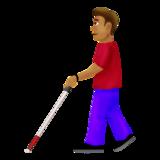 Man With Probing Cane: Medium Skin Tone on Emojipedia 12.0, © 2019 Emojipedia
