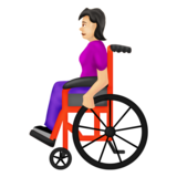 Woman in Manual Wheelchair: Light Skin Tone on Emojipedia 12.0, © 2019 Emojipedia
