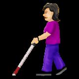 Woman With Probing Cane: Light Skin Tone on Emojipedia 12.0, © 2019 Emojipedia
