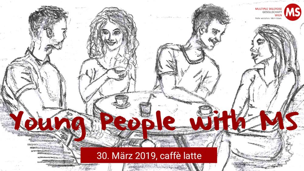 """Bleistiftzeichnung """"Young People with MS"""", zwei junge Frauen und zwei junge Männer unterhalten sich an einem Tisch sitzend, Copyright: Mag. (FH) Gabriele Gruber"""