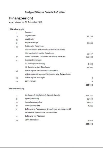 Tätigkeitsbericht der Multiple Sklerose Gesellschaft Wien für das Jahr 2018
