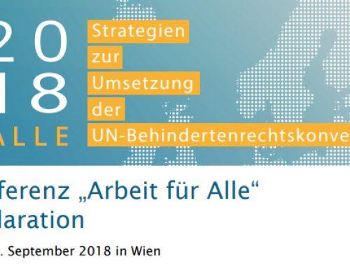 Menschen mit Behinderungen: Arbeit für alle Deklaration von Wien