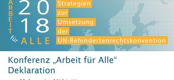 """Konferenz """"Arbeit für Alle"""". Deklaration vom 27. September 2018 in Wien"""