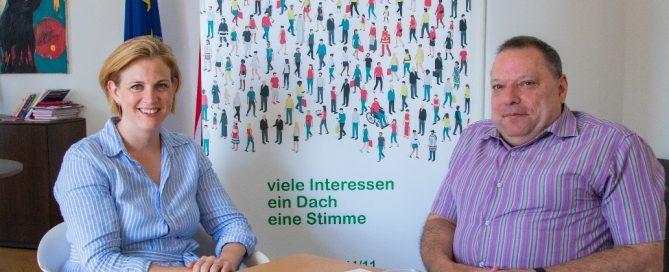 ÖBR-Präsident Herbert Pichler sprach mit Beate Meinl-Reisinger darüber, dass Inklusion ein täglicher Lernprozess ist. Credit: ÖBR
