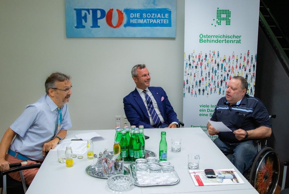 Gespräch Herbert Pichler und Norbert Hofer (FPÖ) anlässlich der Nationalratswahl 2019, Copyright: ÖBR