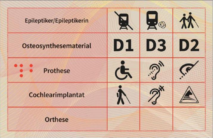 Muster Behindertenpass Scheckkartenformat, Rückseite