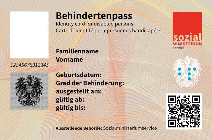 Muster Behindertenpass Scheckkartenformat, Vorderseite