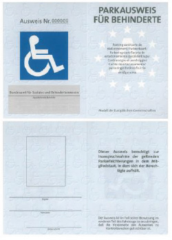 Muster Parkausweis nach § 29b StVO