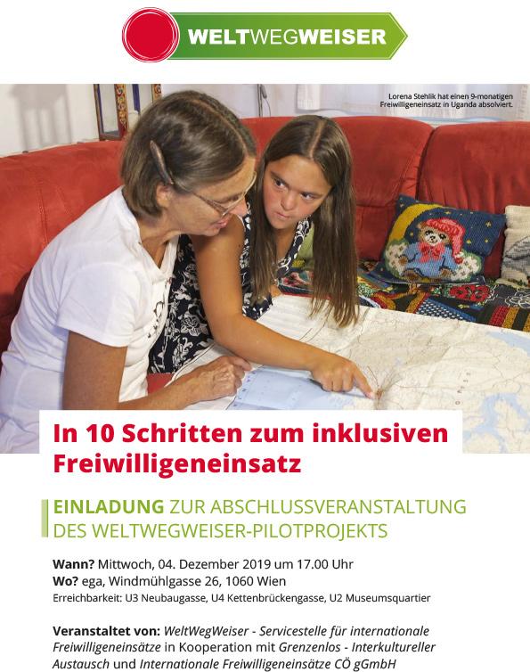 """Einladung zur Abschlussveranstaltung des Pilotprojekts """"Inklusive Freiwilligendienste"""" von WeltWegWeiser"""