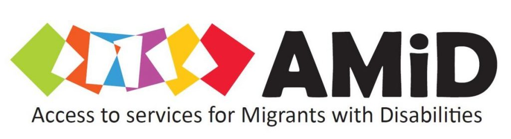 Logo AMiD (Access to services for Migrants with Disabilities)