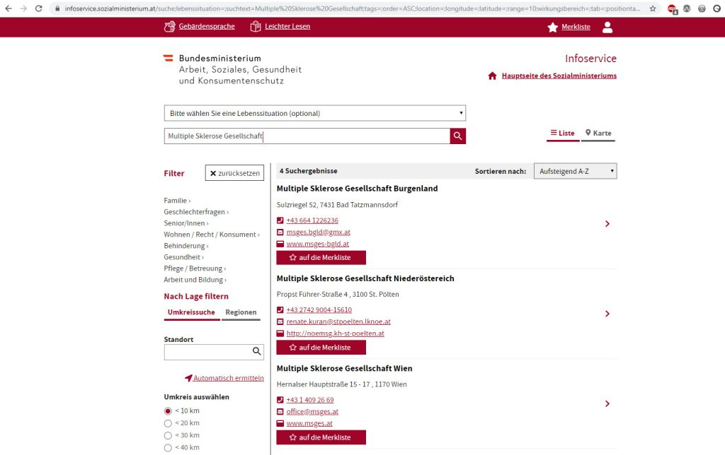 Screenshot www.infoservice.sozialministerium.at