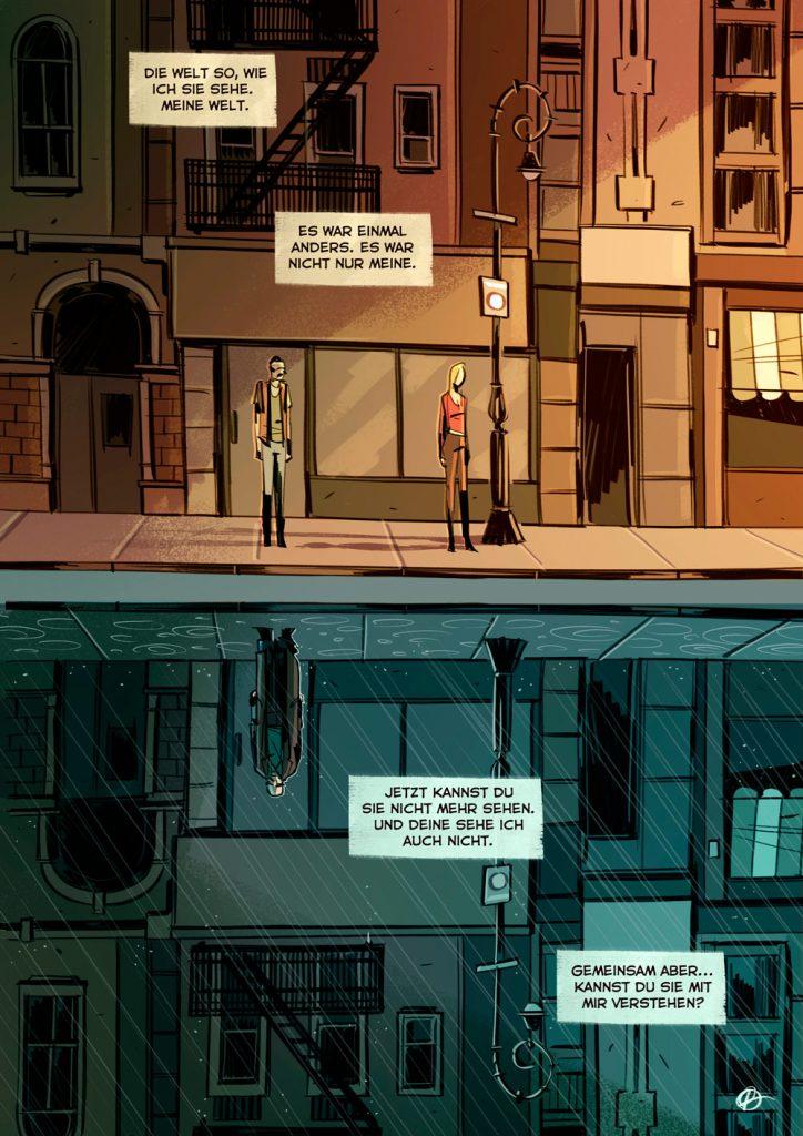 """Marco Rincione und Francesco Chiappara alias Prenzy haben für den Welt MS Tag 2019 die Comic-Text-Kombination """"Welten entfernt"""" gestaltet."""