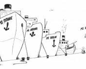 """Bild mit vier Schiffen: MS Titanic, MS Arkona, MS Berlin und MS Strandgut. Davor am Hafen ein mann im Rollstuhl. Pfeil mit Schriftzug """"MS Rainer"""", Credit: Phil Hubbe"""