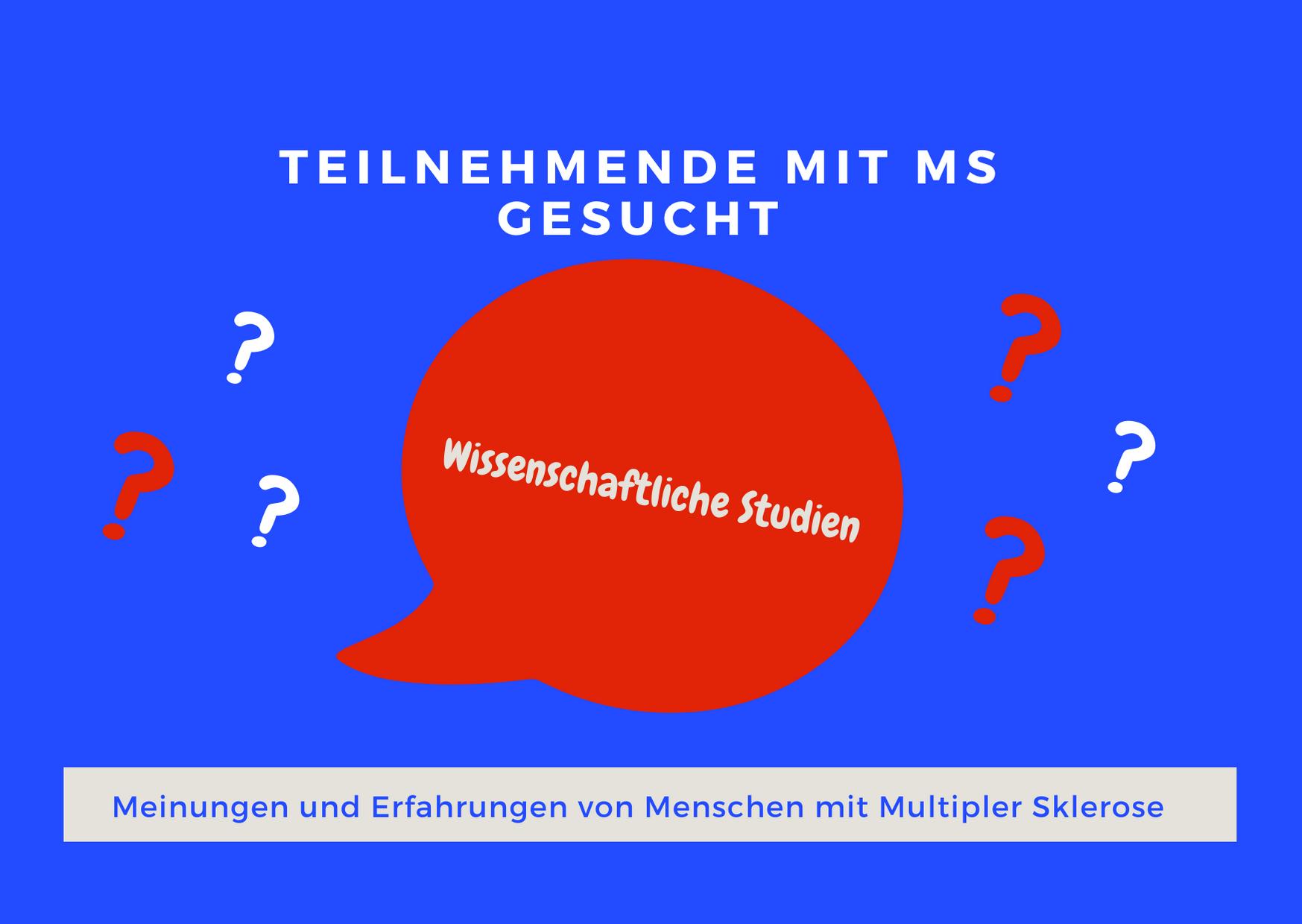 blaues Rechteck mit Sprechblase, Text: Wissenschaftliche Studien: Teilnehmende Mit MS gesucht