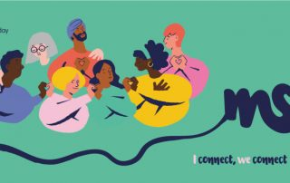 grünes Rechteck mit Zeichnung von Menschen, die sich an den Händen halten, Symbolbild für Verbindungen, Welt-MS-Tag 2020-22